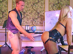 Amazing Blonde Cougar Wears Leather While Getting Plowed