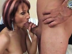 Long Legged Redhead Mom Gives A Good Blowjob
